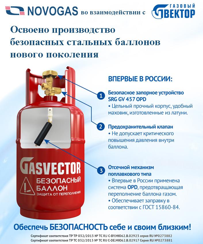 Безопасный бытовой газовый баллон SRG-GV 457 OPD
