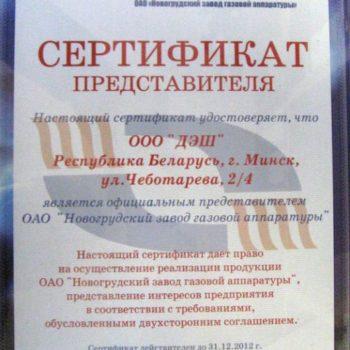 Сертификат НЗГА 2012