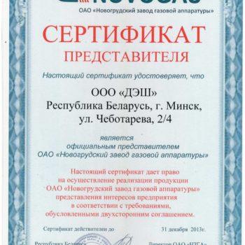 Сертификат НЗГА 2013